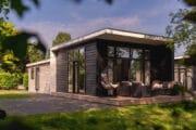 Huisje met een hangstoel op het terras