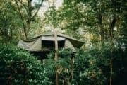 Tent op palen in het bos